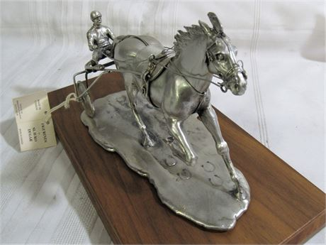 Silver-Plate Pewter Harness Race Horse and Sulky by Slavko Dugar