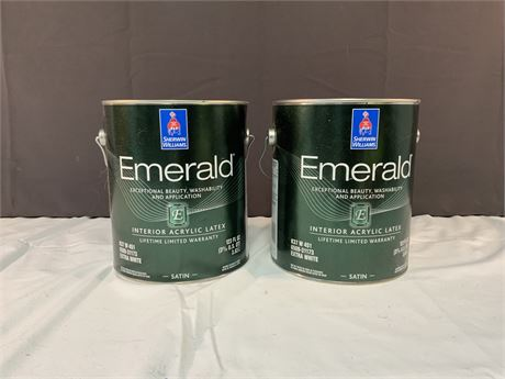 2 Gallons Sherwin Williams Emerald Interior Paint - 716 Fantasy Blue