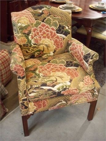 ROBERT RENNER INTERIORS FLORAL UPHOLSTERED SIDE CHAIR