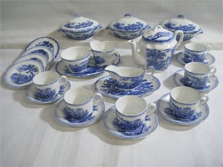 25 PIECE ANTIQUE RIDGWAY CHINA LOT - CHARLES DICKENS - THE OLD CURIOSITY SHOP