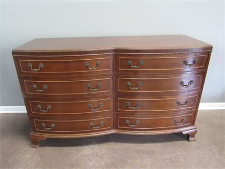 Vintage Rway Bow Front Dresser with 8 Dovetailed Drawers and a Mirror