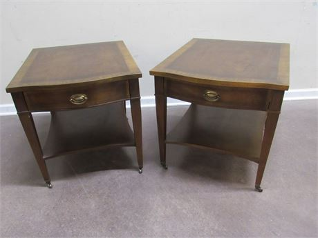 PAIR OF MATCHING LANE END TABLES ON CASTERS