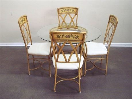 NICE FLORAL MOTIF RUSTIC LOOK METAL TABLE WITH BEVELED GLASS TOP AND 4 CHAIRS
