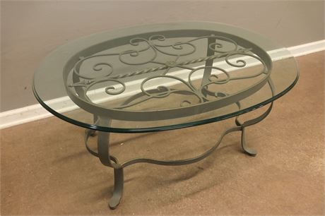 Finished Edged, Glass Top on a Painted Brass Table Base