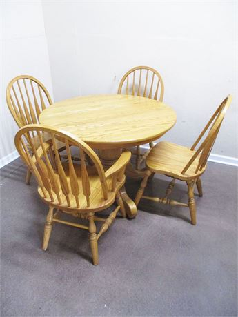 OAK PEDESTAL TABLE WITH CHAIRS