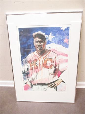 JACKIE ROBINSON WATERCOLOR PRINT #3/2500, SIGNED BY THE ARTIST