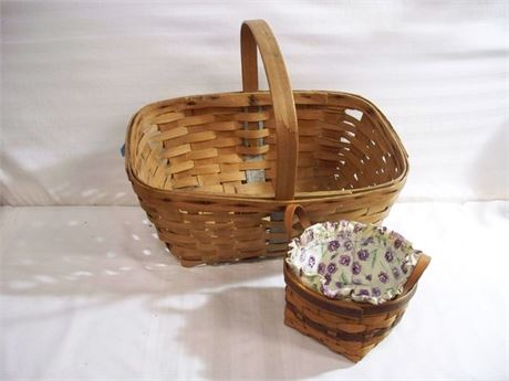 2 VINTAGE WICKER BASKETS - 1 IS LONGABERGER