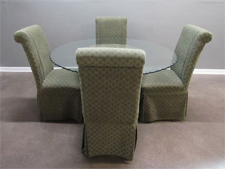 Great Looking Round Scalloped Edge Glass Pedestal Table w/ 4 Upholstered Chairs