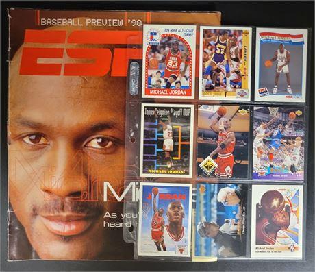 MICHAEL JORDAN 9 CARD LOT & ESPN THE MAGAZINE ON COVER