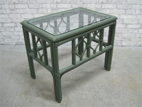 GREEN PAINTED RATTAN SUNROOM FURNITURE END TABLE