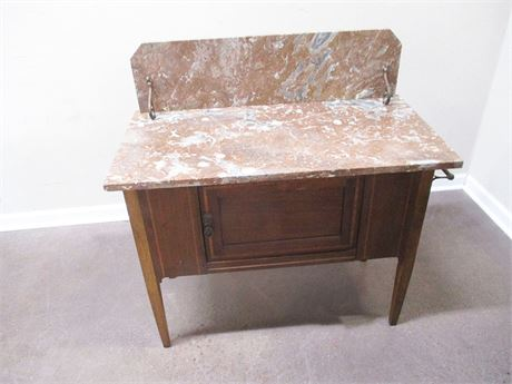 VINTAGE WASH STAND WITH ROSE MARBLE TOP
