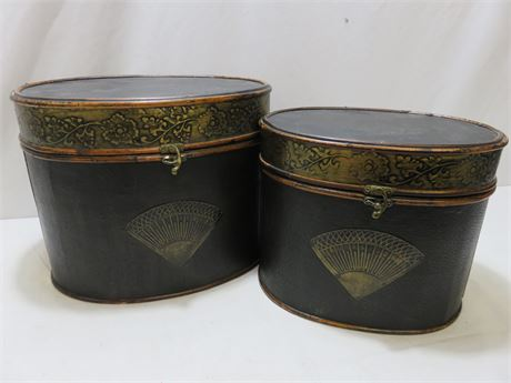 Decorative Asian Wooden Oval Boxes