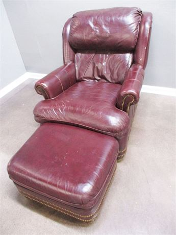 LEATHER CHAIR AND OTTOMAN BY HANCOCK & MOORE