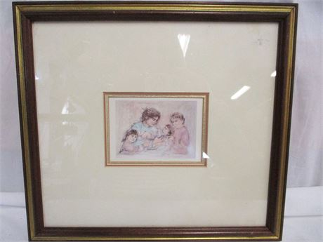 "EDNA HIBBEL LITHOGRAPH ""JAPANESE MOTHER AND CHILDREN"""