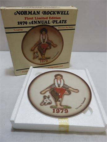 1979 NORMAN ROCKWELL First Limited Edition Annual Plate - LEAPFROG