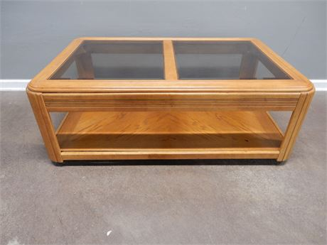 Wood Coffee Table with Beveled Glass on Casters