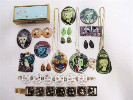 LOT OF GERTE HACKER ENAMELED JEWELRY