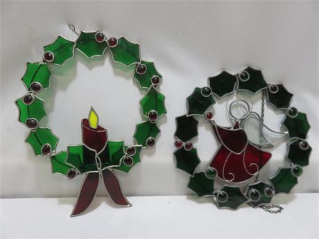 Stained Glass Christmas Wreath Wall Hangings