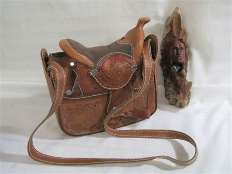 TOOLED LEATHER HORSE SADDLE PURSE AND DOUG HICKS WOOD CARVING