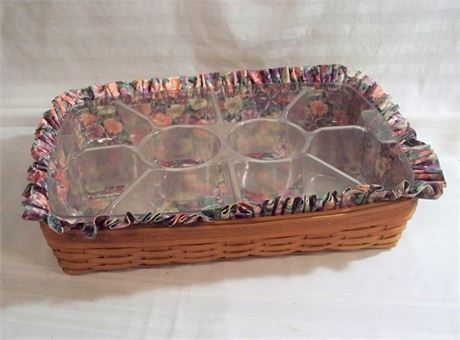 LARGE LONGABERGER BASKET WITH HOSTESS SERVING TRAY/PROTECTOR