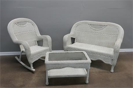 White Wicker Bench, Rocker and Glass Table