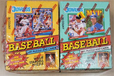 1991 Donruss Baseball 2 Wax Box Lot with Series 1 & Series 2