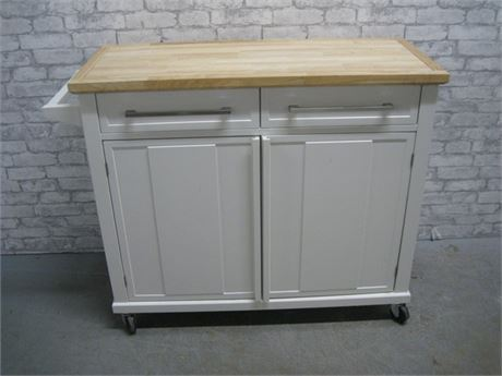 BED BATH AND BEYOND KITCHEN ISLAND ON CASTERS - LOOKS LIKE NEW!