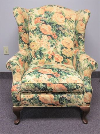 Vintage Wing-Back Chair with New Floral Upholstery and Cabriole Legs.
