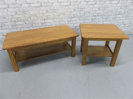 Solid Oak Coffee Table & End Table Set