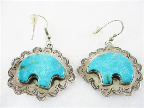 VINTAGE STERLING SILVER AND TURQUOISE BEAR EARRINGS