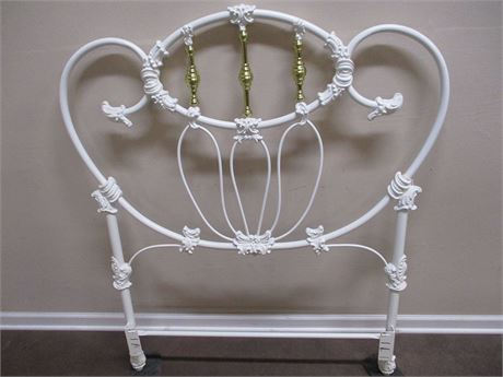BEAUTIFUL BRASS AND ENAMEL TWIN BED (HEADBOARD AND RAILS ONLY)
