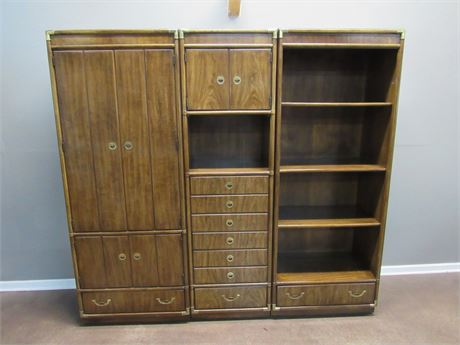 Vintage 1970's Drexel Heritage Accolade Collection 3-PIece Wall Unit w/ Dry Bar
