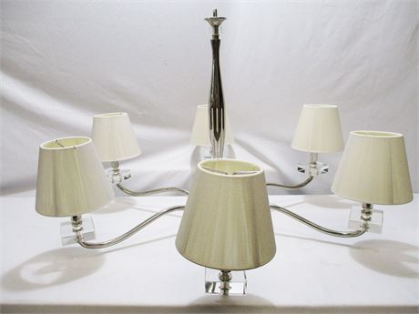 6-LIGHT CHROME AND LUCITE CHANDELIER