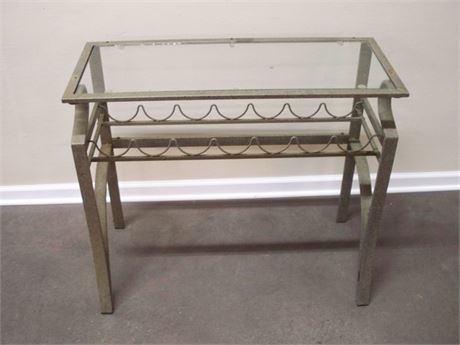 METAL CONSOLE TABLE WITH GLASS TOP AND WINE RACK