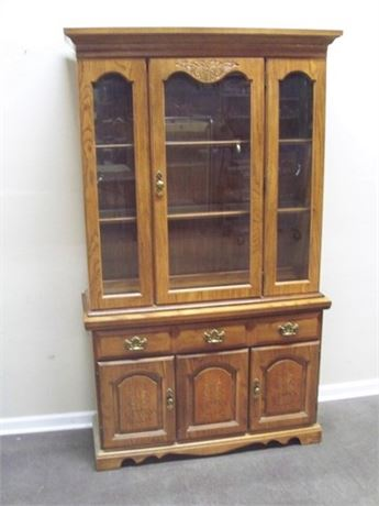 OAK 2 SECTION CHINA HUTCH