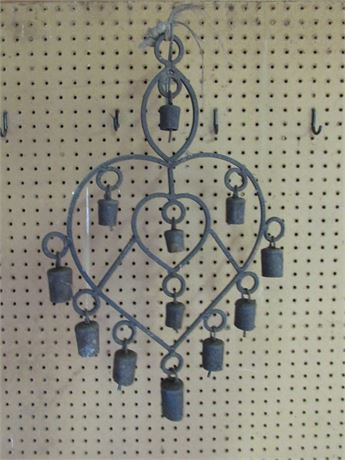 Vintage Wrought Iron Heart Wind Chime