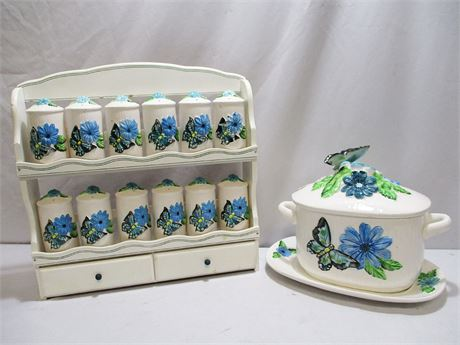 BUTTERFLY/FLOWERS SPICE RACK AND TUREEN