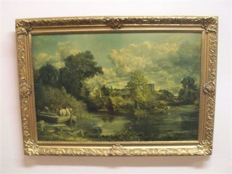 VINTAGE FRAMED REPRODUCTION FAUX OIL - THE WHITE HORSE BY JOHN CONSTABLE
