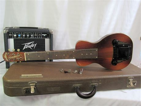 Oahu Tonemaster Steel/Lap Guitar with Case and Peavey Audition 20 AMP