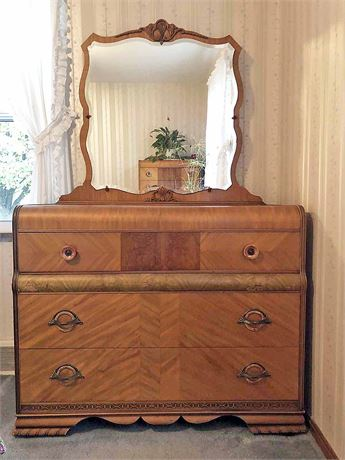 Vintage Parquet Wood Mirrored Dresser