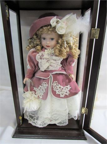1999 Camellia Garden Collection Porcelain Doll with Glass Case