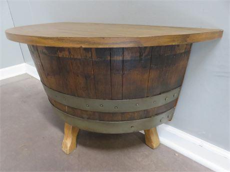 Vintage Mid-Century Whiskey Barrel Half Round Table