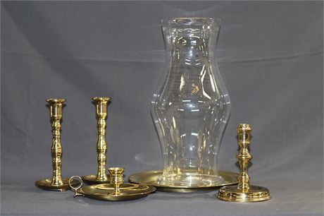 Brass Candleholders and a Hurricane glass cover