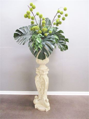 STONE-LOOK URN WITH PEDESTAL