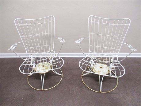 LOT OF 2 MID-CENTURY WIRE SWIVEL CHAIRS