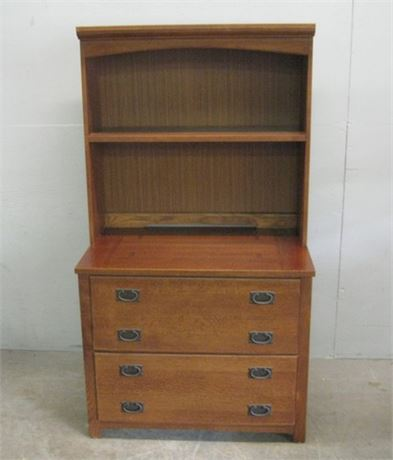 BASSETT MISSION STYLE 2 DRAWER HORIZONTAL FILE CABINET WITH HUTCH