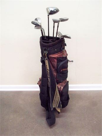 WILSON GOLF BAG WITH SOME GRAPHITE SHAFT CLUBS