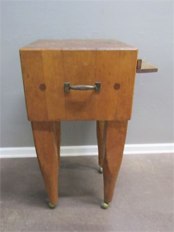 Nice Smaller Size Butcher Block Table on Casters