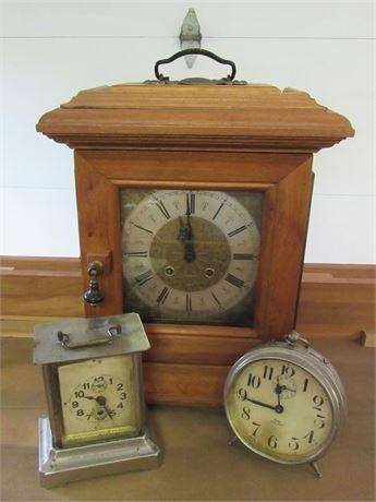 3 Piece Vintage Clock Lot