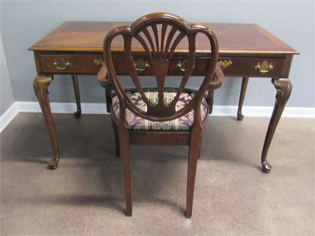 Queen Anne Style Writing Desk with Shield Back Arm Chair